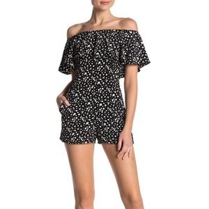 Loveady Off the Shoulder Ruffle Black Romper